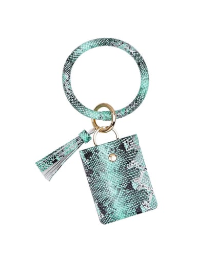 Green k68170 Alloy Leather Serpentine Coin Purse Hand ring/Key Chain