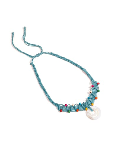 Shell Cotton Rope Beads Geometric Bohemia Hand-Woven  Long Strand Necklace