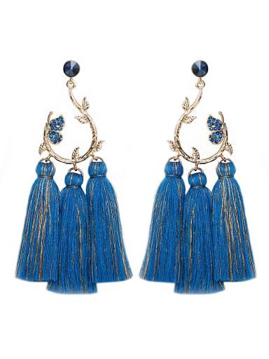 Blue e68815 Alloy Crystal Cotton Tassel Bohemia Hand-Woven Drop Earring