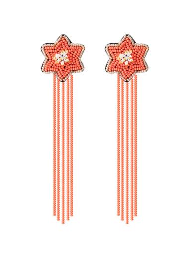 E68840 Alloy Star Bead Tassel Bohemia Hand-Woven Drop Earring