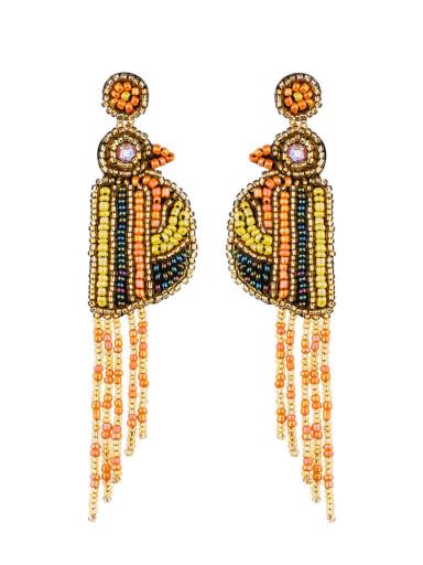 Orange e68694 Non-woven fabric Bead Tassel Bohemia Hand Weave Threader Earring