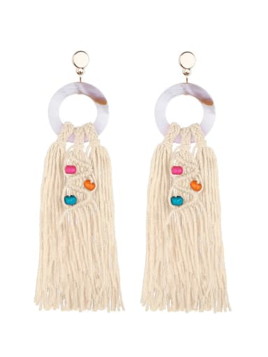 Beibai e68749 Alloy Shell Cotton Rope Tassel Bohemia Hand-Woven Drop Earring