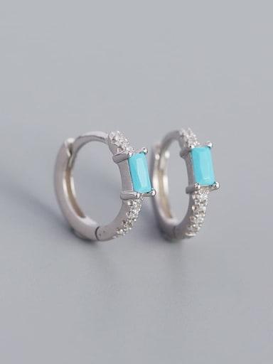 Platinum (blue pine) 925 Sterling Silver Cubic Zirconia Geometric Minimalist Huggie Earring