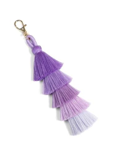 K68009 purple Alloy Shell Cotton Rope Tassel Bohemia Hand-Woven Bag Pendant