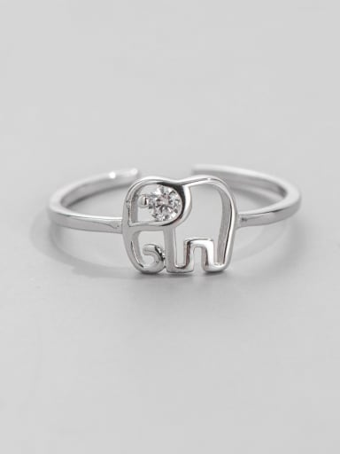 925 Sterling Silver Elephant Minimalist Band Ring