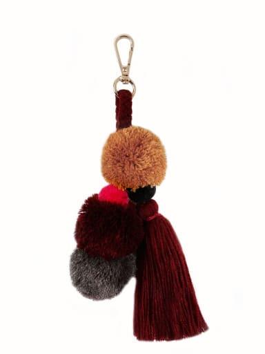 K68197 Alloy Cotton Rope  Tassel Bohemia Hand-Woven Bag Pendant