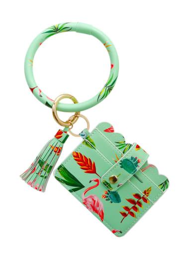Green k68246 Alloy Leather Plant pattern Wrist Card Holder Key Chain