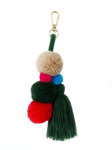 Green k68197 Alloy Cotton Rope  Tassel Bohemia Hand-Woven Bag Pendant
