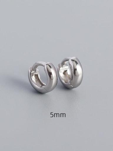 5mm white gold 925 Sterling Silver Geometric Minimalist Huggie Earring