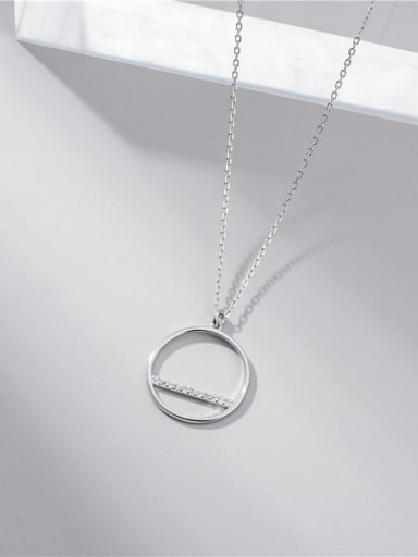 Platinum 925 Sterling Silver Cubic Zirconia Round Minimalist Necklace