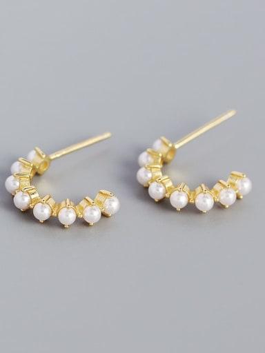 Gold 925 Sterling Silver Imitation Pearl Geometric Minimalist Stud Earring