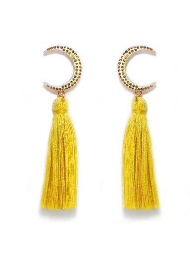Yellow e68806 Alloy Cotton Rope Tassel Bohemia Hand-Woven  Drop Earring
