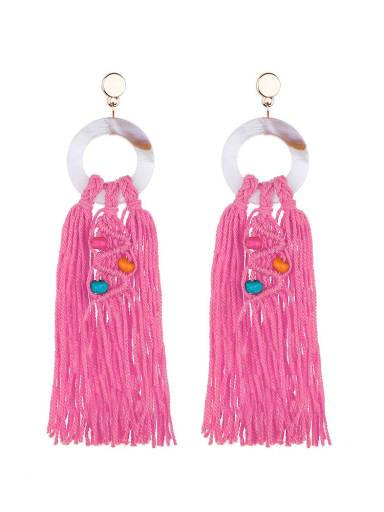 Rose e68749 Alloy Shell Cotton Rope Tassel Bohemia Hand-Woven Drop Earring