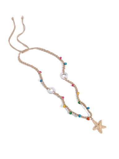N70248 Alloy Shell Cotton Beads Rope  Star Hand-Woven Artisan Lariat Necklace