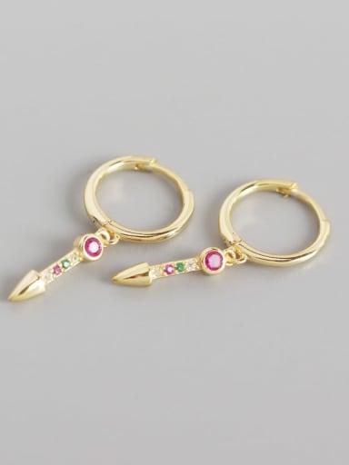 Gold 925 Sterling Silver Rhinestone Multi Color Geometric Trend Huggie Earring