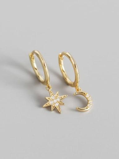 Gold 925 Sterling Silver Rhinestone White Star Trend Huggie Earring