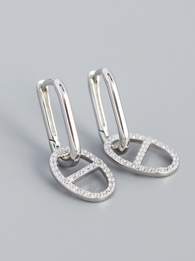 Platinum 925 Sterling Silver Cubic Zirconia Geometric Minimalist Drop Earring