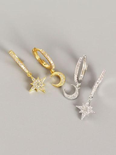 925 Sterling Silver Rhinestone White Star Trend Huggie Earring