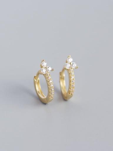 Golden white stone 925 Sterling Silver Cubic Zirconia Flower Dainty Huggie Earring