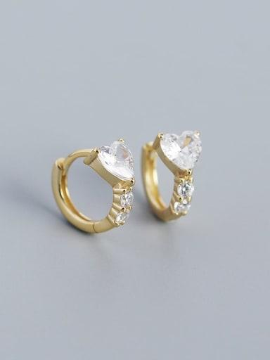 Gold 925 Sterling Silver Cubic Zirconia Heart Minimalist Huggie Earring