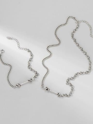 925 Sterling Silver Minimalist Irregular  Braclete and Necklace Set