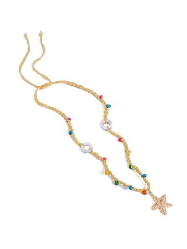 Yellow n70248 Alloy Shell Cotton Beads Rope  Star Hand-Woven Artisan Lariat Necklace