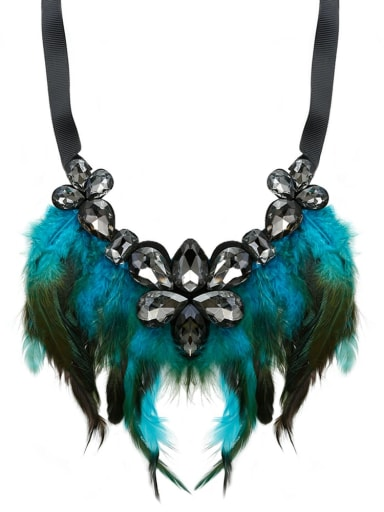 Blue c68805 Glass Stone Feather Hand-Woven  Statement Bib Necklace