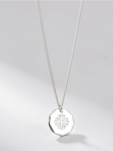 925 Sterling Silver Minimalist  Sunflower Round Card Pendant Necklace