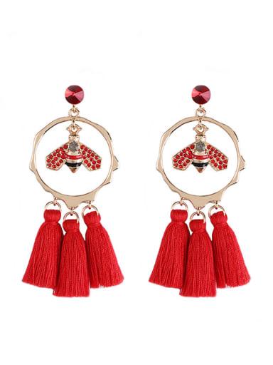 Red e68810 Alloy Crystal Bee Tassel Bohemia Hand-Woven  Drop Earring