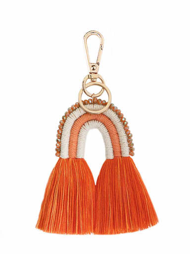 K68205 Alloy Bead Cotton Rope Rainbow Hand-Woven Bohemia Bag Pendant