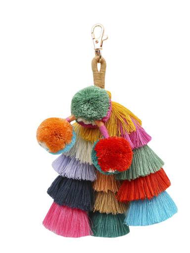 Green color Alloy Cotton Rope  Tassel Hand-Woven Bohemia Bag Pendant