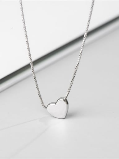 Platinum necklace 925 Sterling Silver Heart Minimalist Necklace