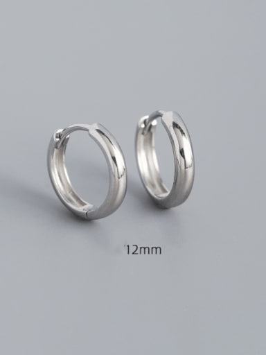 12mm white gold 925 Sterling Silver Geometric Minimalist Huggie Earring