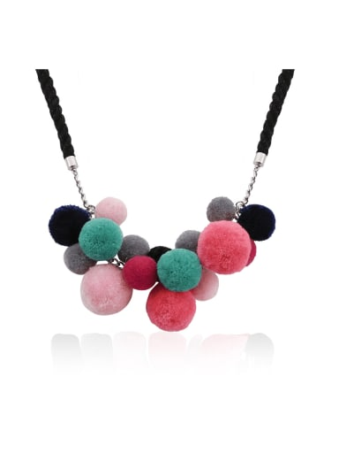 Alloy Cotton Rope  Hairball Geometric Hand-Woven  Bohemia Necklace