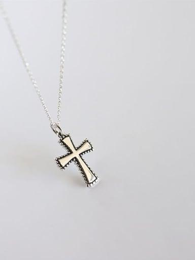 Yhn052 cross 925 Sterling Silver Geometric Minimalist Necklace