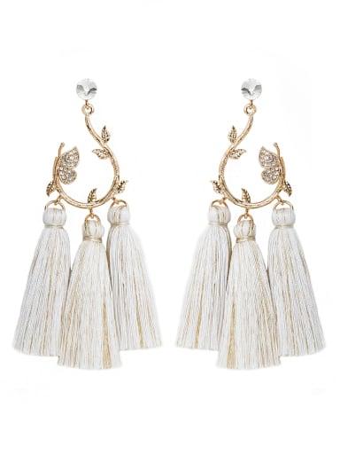 E68815 Alloy Crystal Cotton Tassel Bohemia Hand-Woven Drop Earring