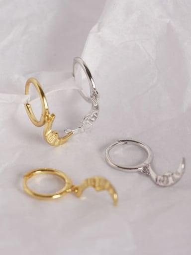 925 Sterling Silver Moon Trend Huggie Earring