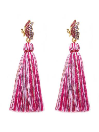 Rose e68798 Alloy Cotton Rope Tassel Bohemia Hand-Woven Drop Earring