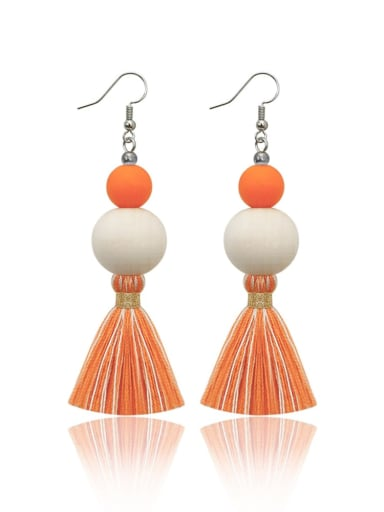 Orange e68837 Alloy Wooden beads  Cotton Rope  Tassel Bohemia Hand-Woven Drop Earring