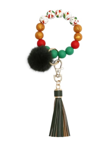 Green k68315 Alloy Multi Color  Silicone Leather  Tassel fur ball christmas tree Key Chain
