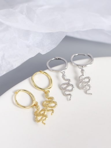 925 Sterling Silver Snake Trend Huggie Earring
