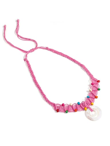 Rose n70249 Shell Cotton Rope Beads Geometric Bohemia Hand-Woven  Long Strand Necklace