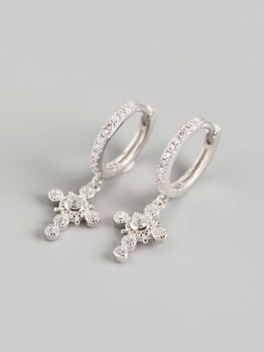 Platinum 925 Sterling Silver Rhinestone White Cross Luxury Huggie Earring