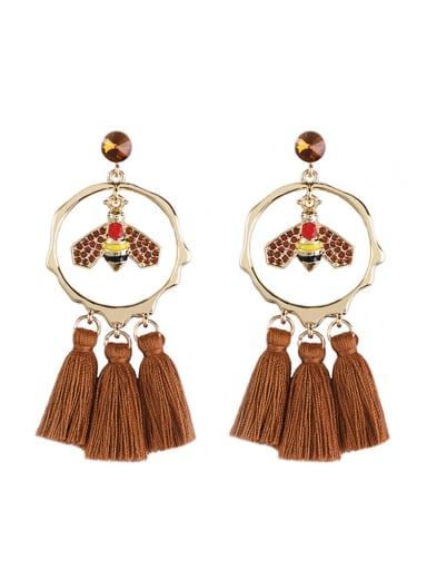 E68810 Alloy Crystal Bee Tassel Bohemia Hand-Woven  Drop Earring