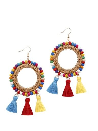 Bead Multi Color Cotton Tassel Bohemia Hand-woven Drop Earring