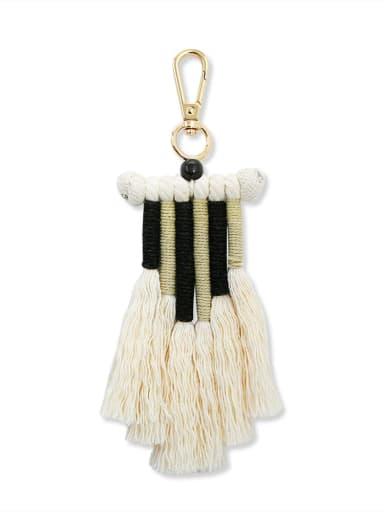 Black color k68210 Alloy Bead Cotton Rope Tassel Bohemia Hand-Woven  Bag Pendant