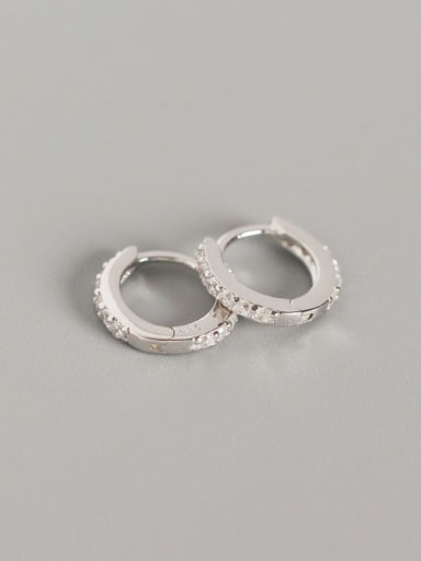 1#Platinum (white diamond) 925 Sterling Silver Cubic Zirconia White Geometric Dainty Huggie Earring