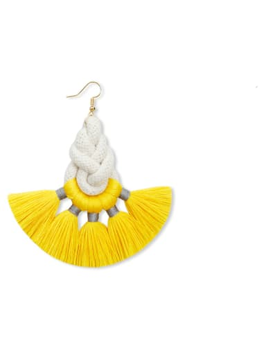 E68830 Alloy Cotton Rope Tassel Artisan Hand-Woven Drop Earring