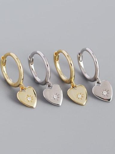 925 Sterling Silver Rhinestone Heart Minimalist Huggie Earring