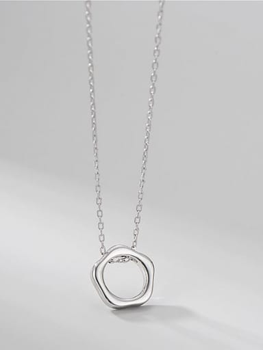 925 Sterling Silver Hexagon Minimalist Necklace